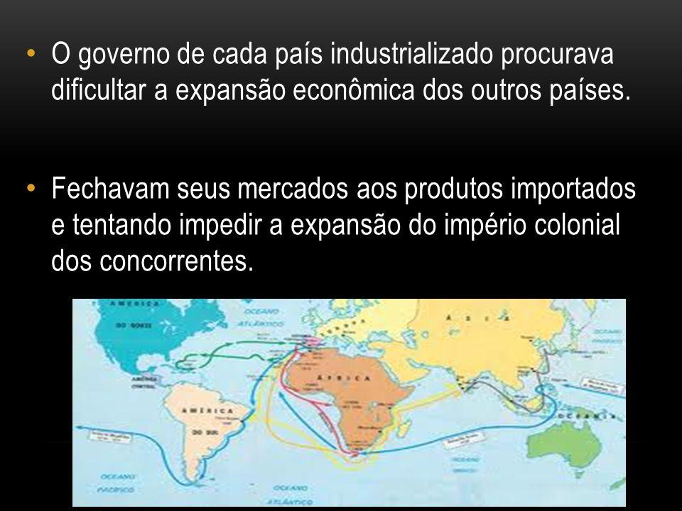 O governo de cada país industrializado procurava dificultar a expansão econômica dos outros países. Fechavam seus mercados aos produtos importados e t