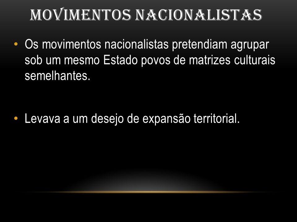 MOVIMENTOS NACIONALISTAS Os movimentos nacionalistas pretendiam agrupar sob um mesmo Estado povos de matrizes culturais semelhantes. Levava a um desej