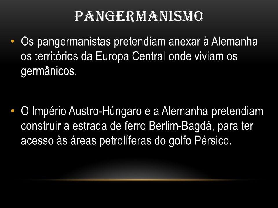 PANGERMANISMO Os pangermanistas pretendiam anexar à Alemanha os territórios da Europa Central onde viviam os germânicos. O Império Austro-Húngaro e a