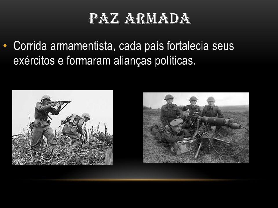 PAZ ARMADA Corrida armamentista, cada país fortalecia seus exércitos e formaram alianças políticas.