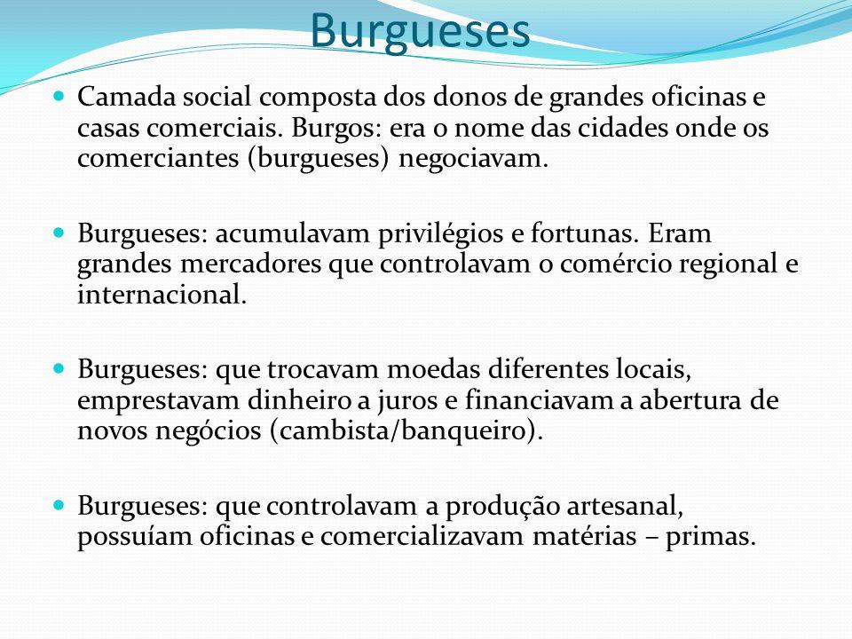 Burgueses Camada social composta dos donos de grandes oficinas e casas comerciais. Burgos: era o nome das cidades onde os comerciantes (burgueses) neg