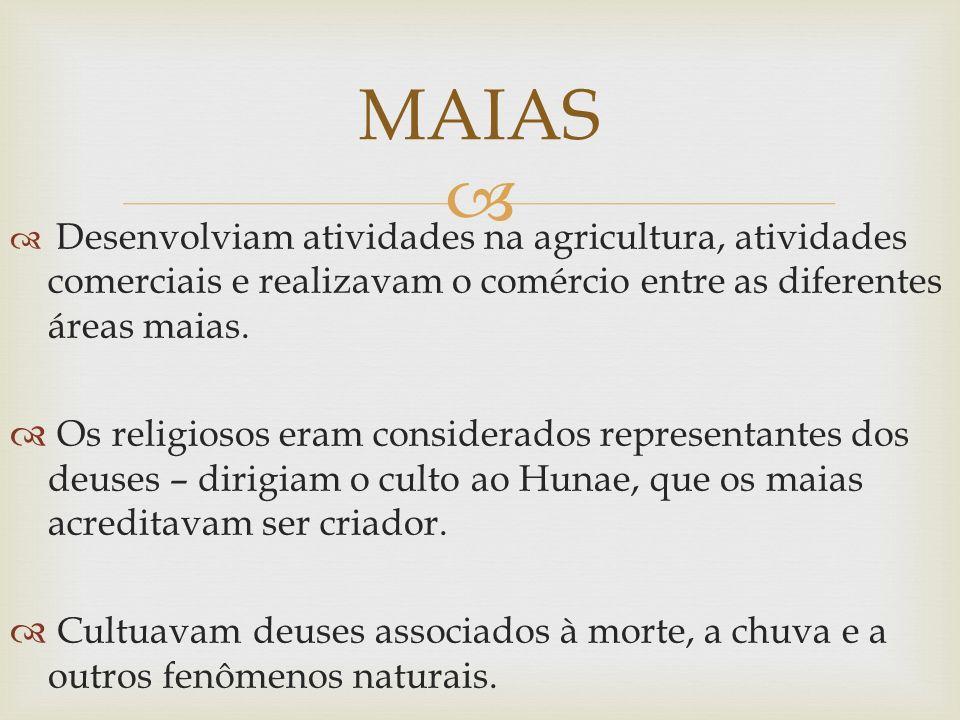 Desenvolviam atividades na agricultura, atividades comerciais e realizavam o comércio entre as diferentes áreas maias. Os religiosos eram considerados