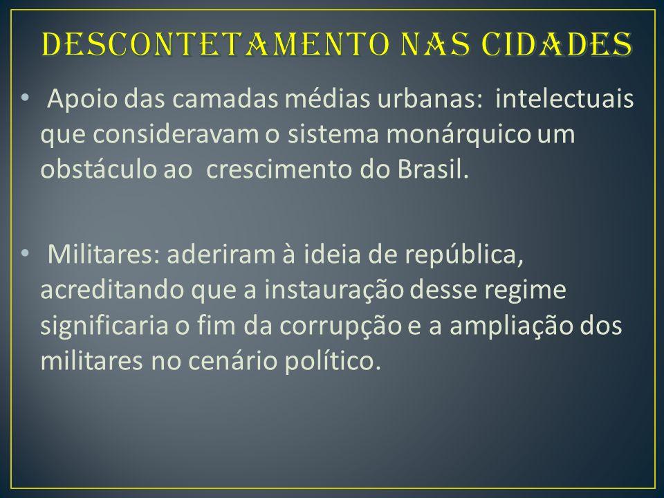 Apoio das camadas médias urbanas: intelectuais que consideravam o sistema monárquico um obstáculo ao crescimento do Brasil.