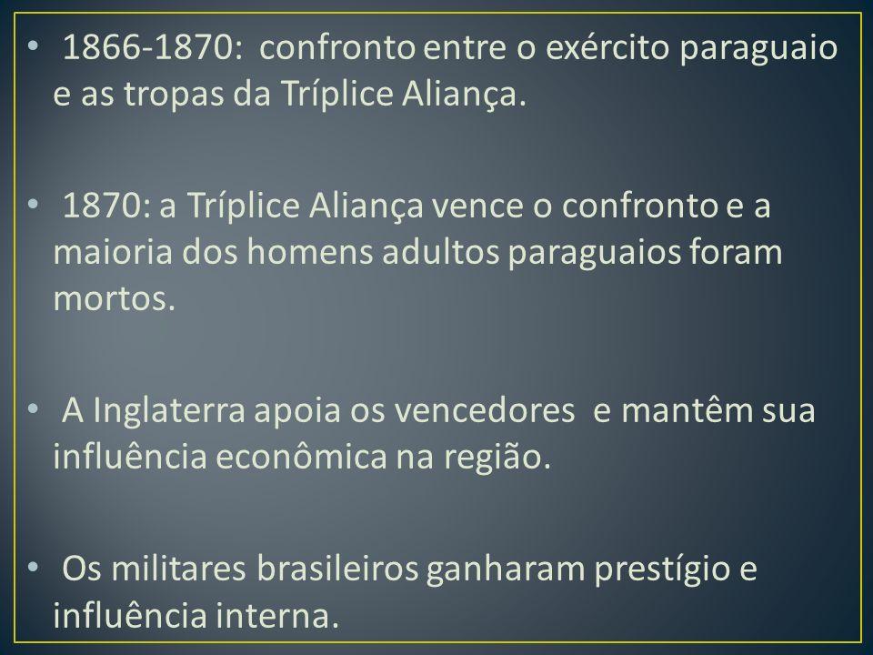 1866-1870: confronto entre o exército paraguaio e as tropas da Tríplice Aliança.