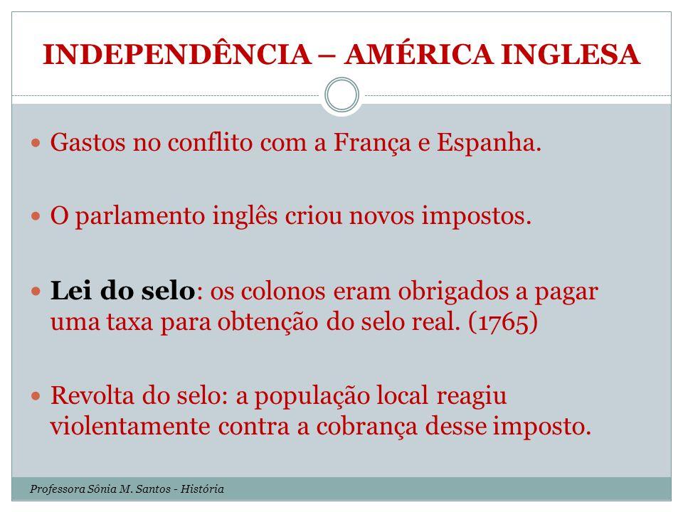 INDEPENDÊNCIA – AMÉRICA INGLESA Professora Sônia M.