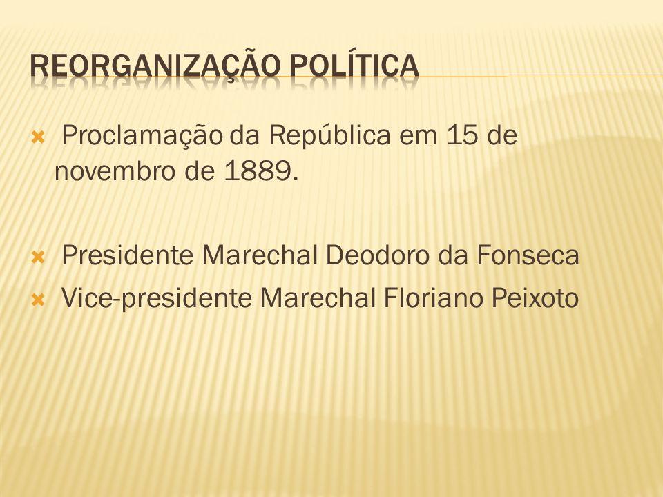 Proclamação da República em 15 de novembro de 1889. Presidente Marechal Deodoro da Fonseca Vice-presidente Marechal Floriano Peixoto