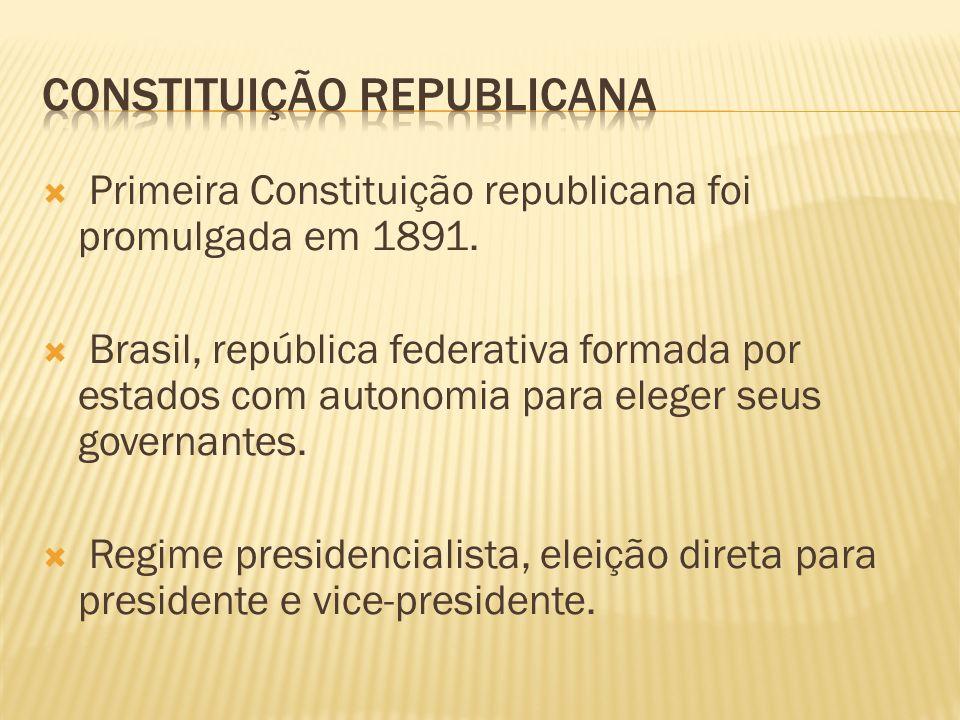 Primeira Constituição republicana foi promulgada em 1891. Brasil, república federativa formada por estados com autonomia para eleger seus governantes.