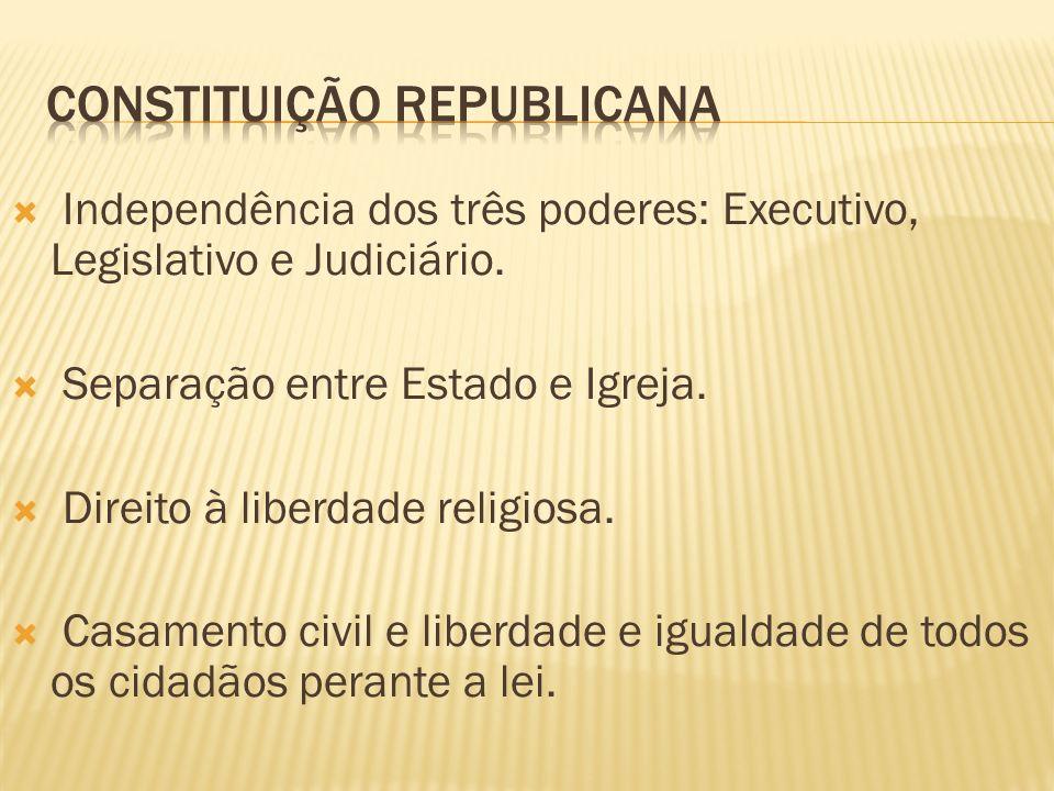 Independência dos três poderes: Executivo, Legislativo e Judiciário. Separação entre Estado e Igreja. Direito à liberdade religiosa. Casamento civil e