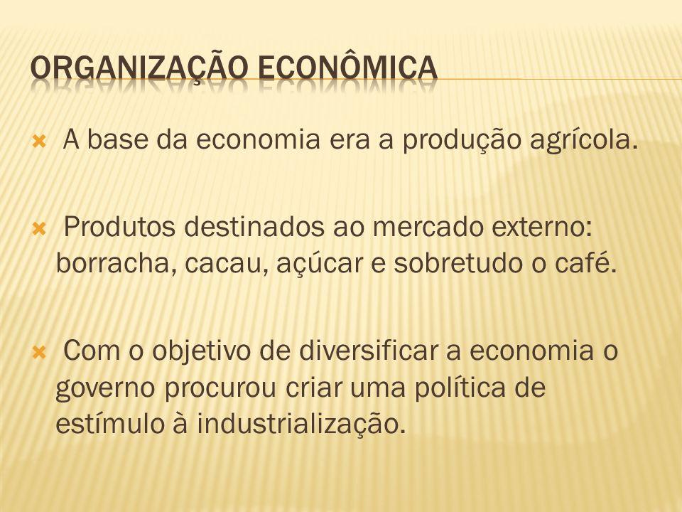A base da economia era a produção agrícola. Produtos destinados ao mercado externo: borracha, cacau, açúcar e sobretudo o café. Com o objetivo de dive