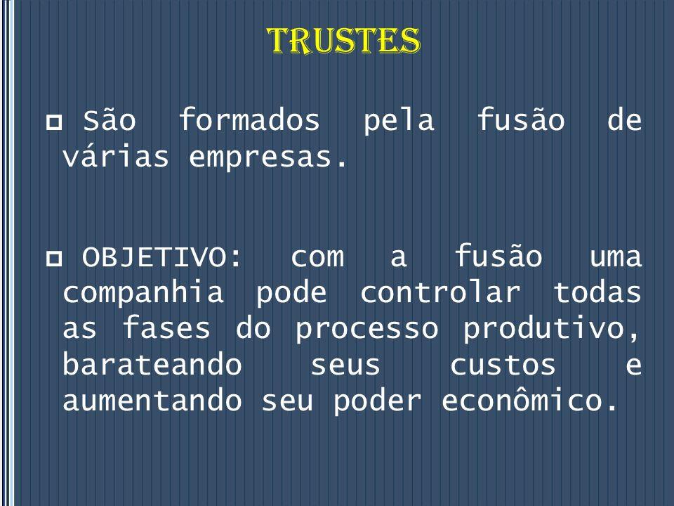 TRUSTES São formados pela fusão de várias empresas.