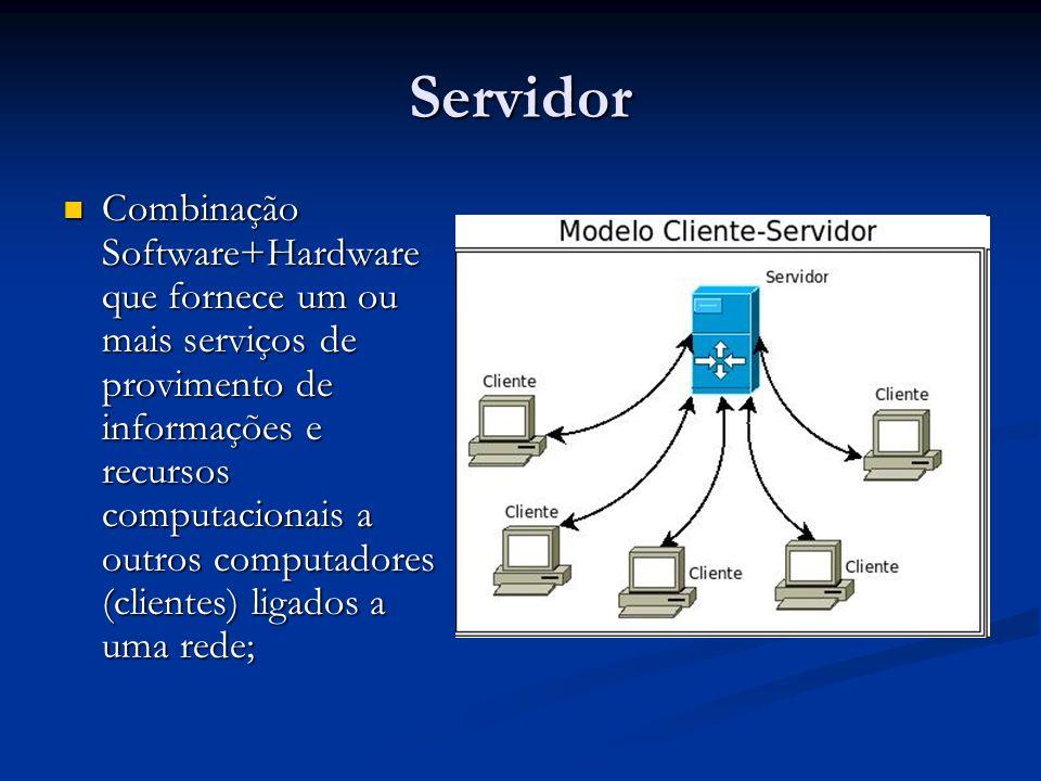 Servidor Combinação Software+Hardware que fornece um ou mais serviços de provimento de informações e recursos computacionais a outros computadores (cl