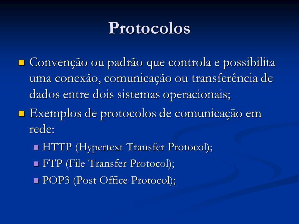 Protocolos Convenção ou padrão que controla e possibilita uma conexão, comunicação ou transferência de dados entre dois sistemas operacionais; Convenç