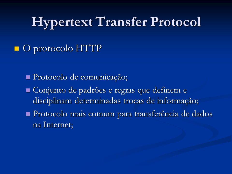 Hypertext Transfer Protocol O protocolo HTTP O protocolo HTTP Protocolo de comunicação; Protocolo de comunicação; Conjunto de padrões e regras que def