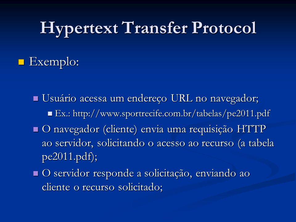 Hypertext Transfer Protocol Exemplo: Exemplo: Usuário acessa um endereço URL no navegador; Usuário acessa um endereço URL no navegador; Ex.: http://ww