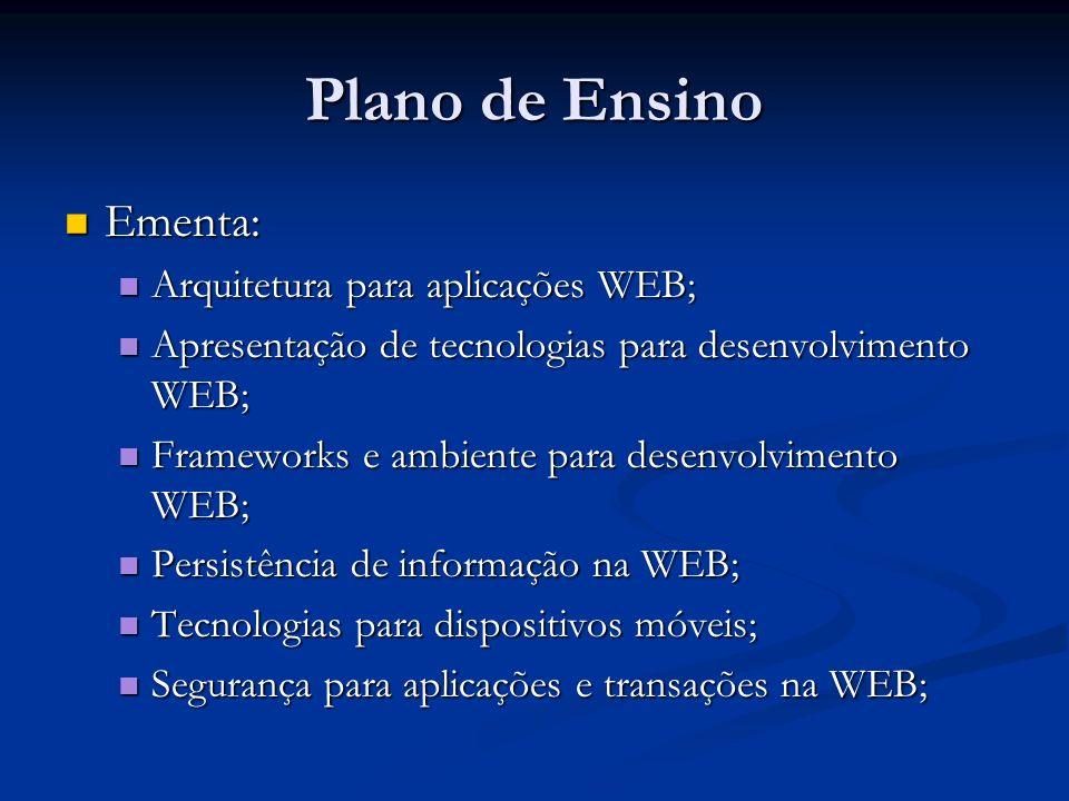 Plano de Ensino Ementa: Ementa: Arquitetura para aplicações WEB; Arquitetura para aplicações WEB; Apresentação de tecnologias para desenvolvimento WEB
