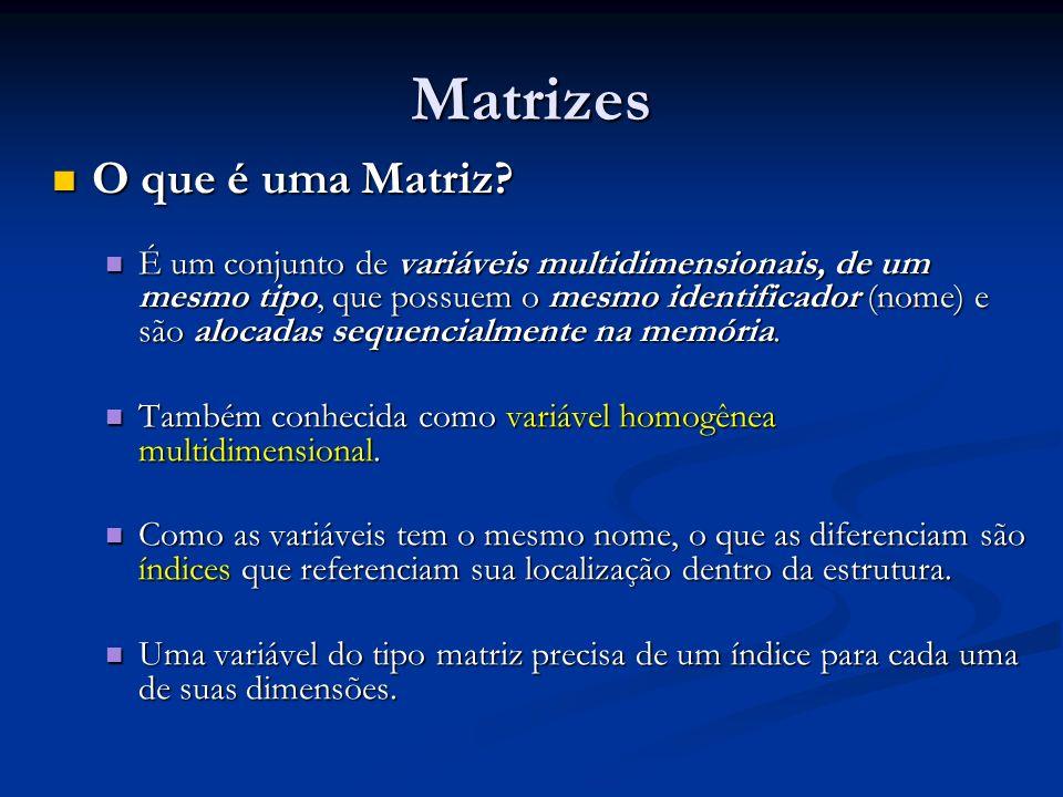 Matrizes O que é uma Matriz? O que é uma Matriz? É um conjunto de variáveis multidimensionais, de um mesmo tipo, que possuem o mesmo identificador (no