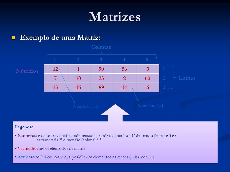 Matrizes Exemplo de uma Matriz: Exemplo de uma Matriz: 12190563 71023260 153689346 Números 1 2 3 45 Colunas Linhas Legenda: Números: é o nome da matri