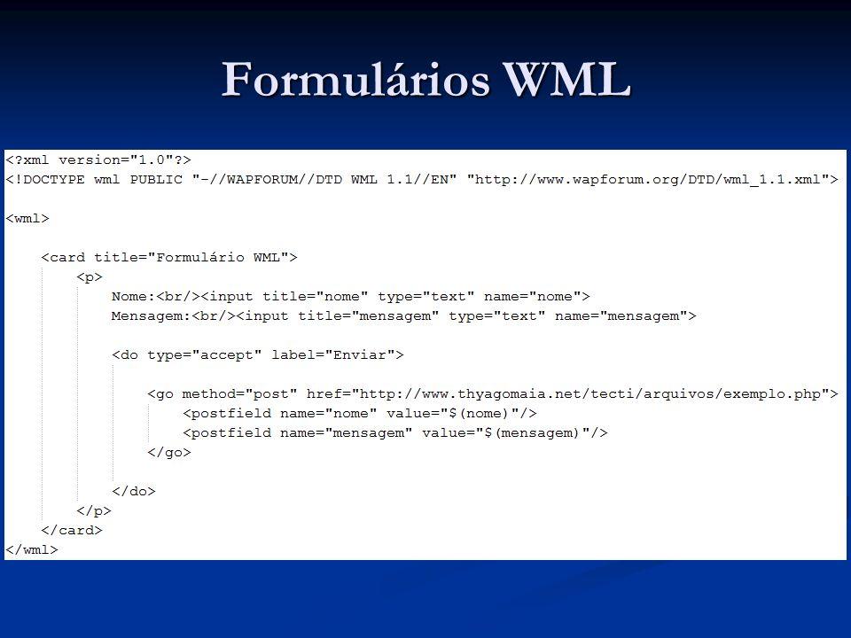 WCSS – WAP CSS Folha de estilo estilo.css: Folha de estilo estilo.css:body{ background: #00BFFF; }p{ color: #cccccc; }