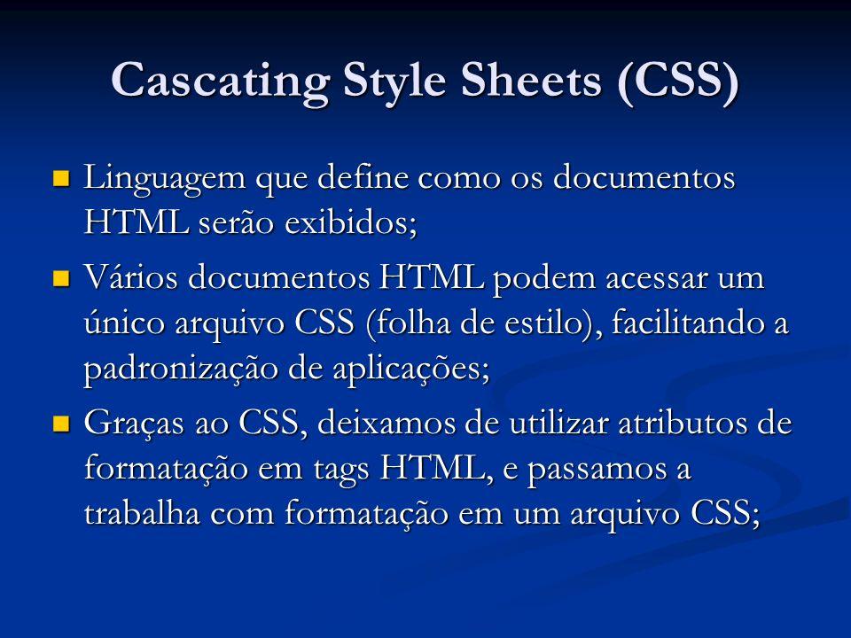 Cascating Style Sheets (CSS) CSS economiza muito trabalho: CSS economiza muito trabalho: O mesmo define como os elementos HTML serão exibidos; O mesmo define como os elementos HTML serão exibidos; Arquivos CSS permite mudar a aparência e o layout de todas as páginas em um Web site, apenas editando um único arquivo; Arquivos CSS permite mudar a aparência e o layout de todas as páginas em um Web site, apenas editando um único arquivo;