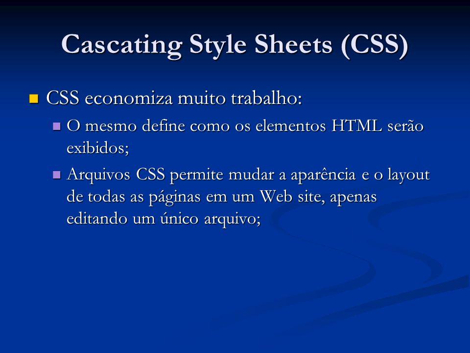 Cascating Style Sheets (CSS) CSS economiza muito trabalho: CSS economiza muito trabalho: O mesmo define como os elementos HTML serão exibidos; O mesmo