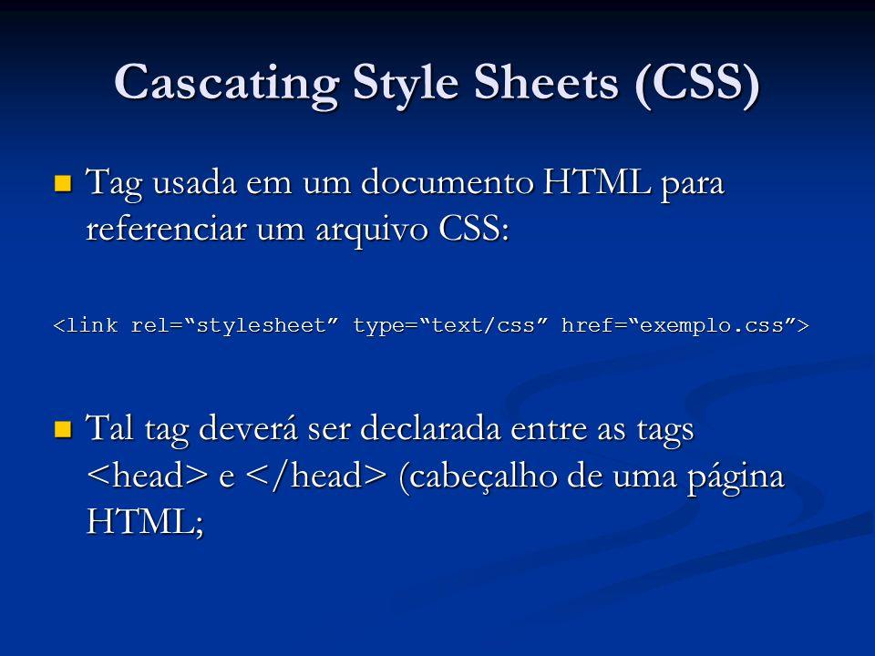 Cascating Style Sheets (CSS) Sintaxe do CSS: Sintaxe do CSS: Uma regra CSS possui duas partes: um seletor e uma ou mais declarações; Uma regra CSS possui duas partes: um seletor e uma ou mais declarações; Um seletor é normalmente um elemento HTML que você deseja formatar (Ex.: html, body, a, p, div, etc.); Um seletor é normalmente um elemento HTML que você deseja formatar (Ex.: html, body, a, p, div, etc.); Um arquivo CSS poderá ter vários seletores; Um arquivo CSS poderá ter vários seletores; Cada declaração consiste em uma propriedade e um valor (Ex.: background: #000000, etc.); Cada declaração consiste em uma propriedade e um valor (Ex.: background: #000000, etc.); A propriedade é o atributo de estilo (formatação) a ser alterado.