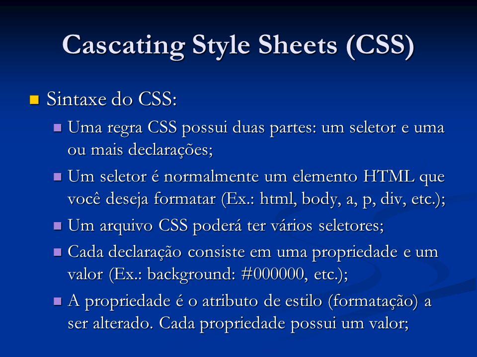 Cascating Style Sheets (CSS) Sintaxe do CSS: Sintaxe do CSS: Uma regra CSS possui duas partes: um seletor e uma ou mais declarações; Uma regra CSS pos