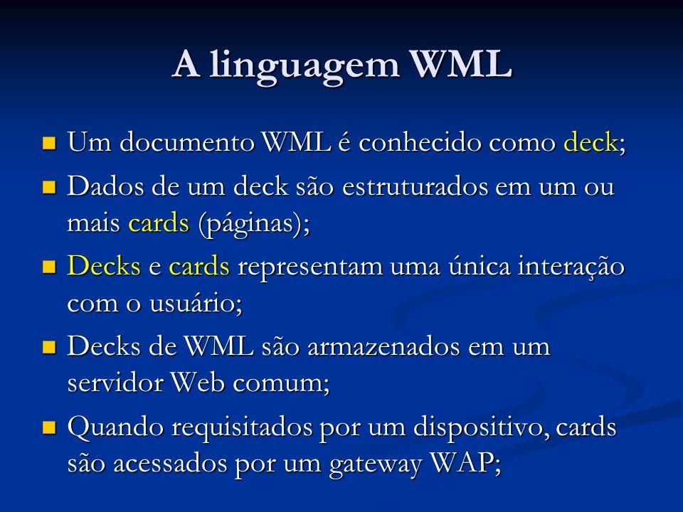 A linguagem WML Um documento WML é conhecido como deck; Um documento WML é conhecido como deck; Dados de um deck são estruturados em um ou mais cards