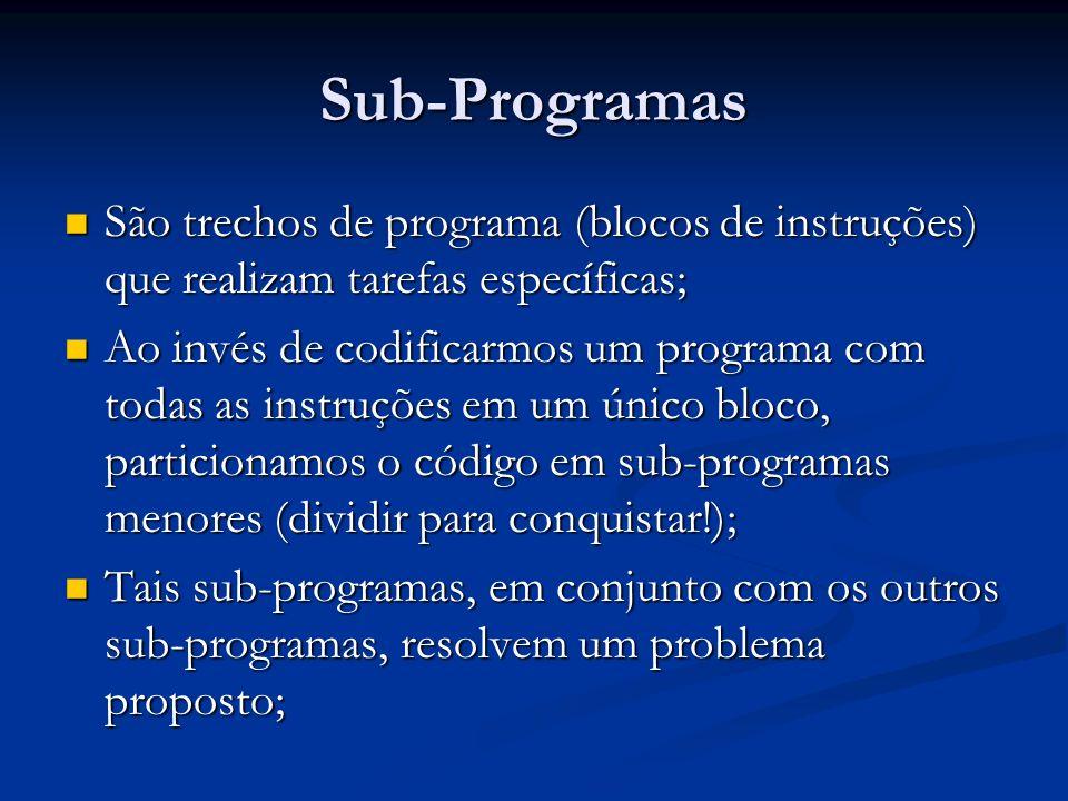 Sub-Programas São trechos de programa (blocos de instruções) que realizam tarefas específicas; São trechos de programa (blocos de instruções) que real