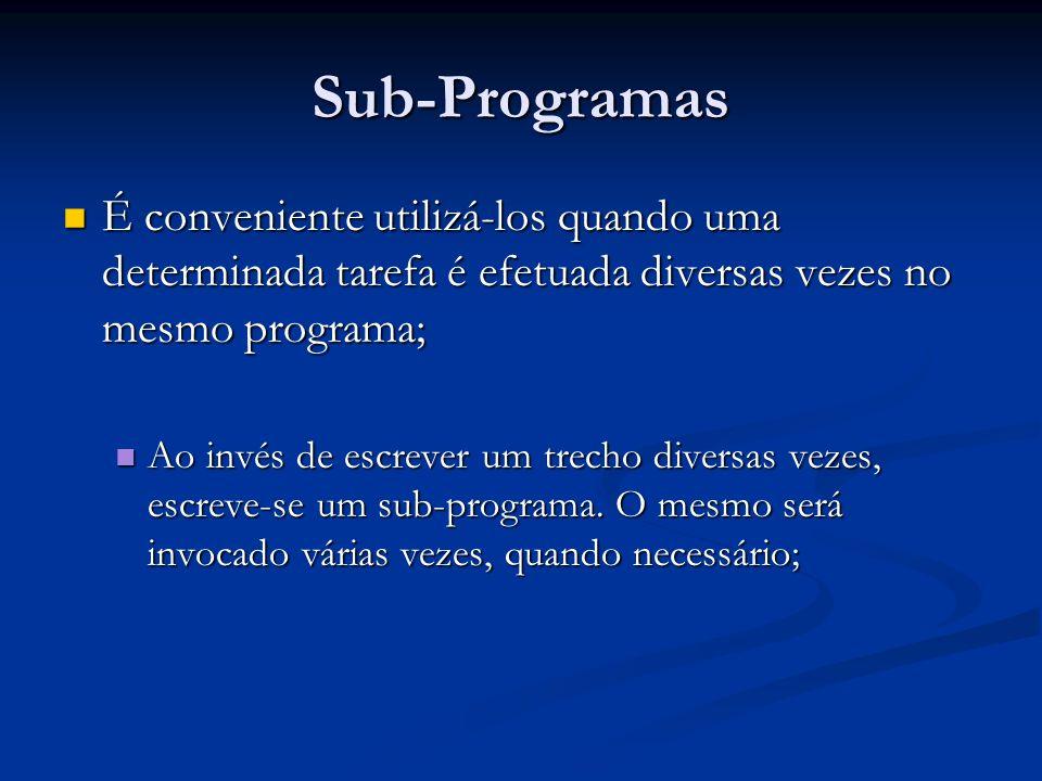 Sub-Programas É conveniente utilizá-los quando uma determinada tarefa é efetuada diversas vezes no mesmo programa; É conveniente utilizá-los quando um