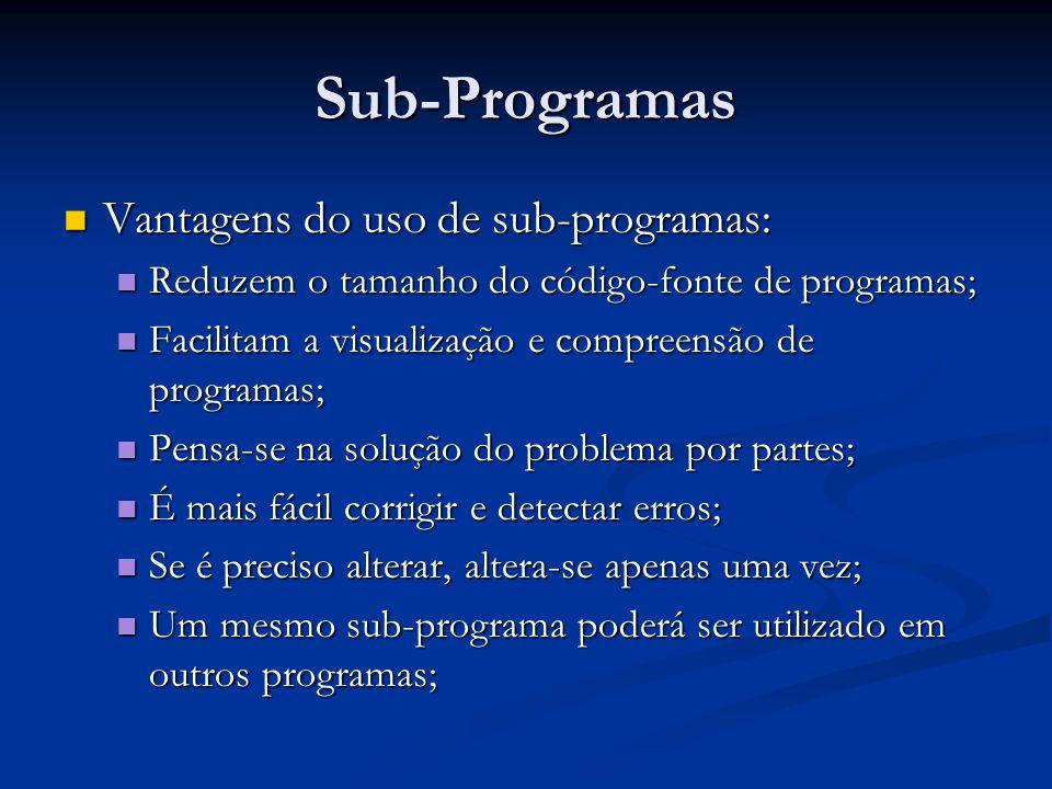 Sub-Programas Vantagens do uso de sub-programas: Vantagens do uso de sub-programas: Reduzem o tamanho do código-fonte de programas; Reduzem o tamanho