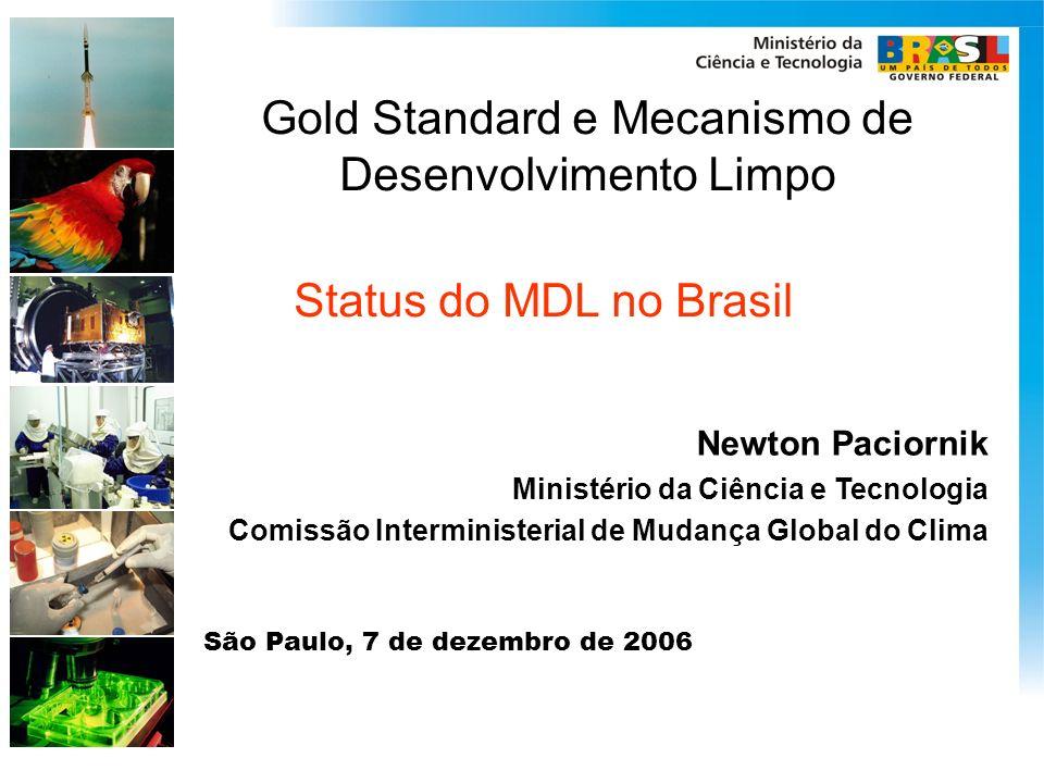 Gold Standard e Mecanismo de Desenvolvimento Limpo Newton Paciornik Ministério da Ciência e Tecnologia Comissão Interministerial de Mudança Global do