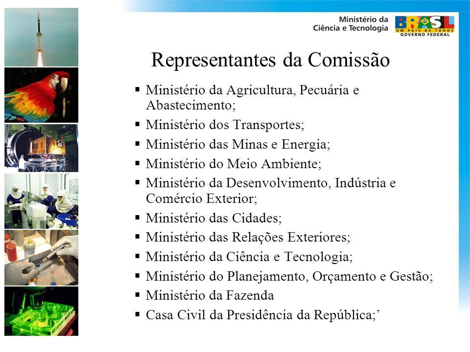 Representantes da Comissão Ministério da Agricultura, Pecuária e Abastecimento; Ministério dos Transportes; Ministério das Minas e Energia; Ministério