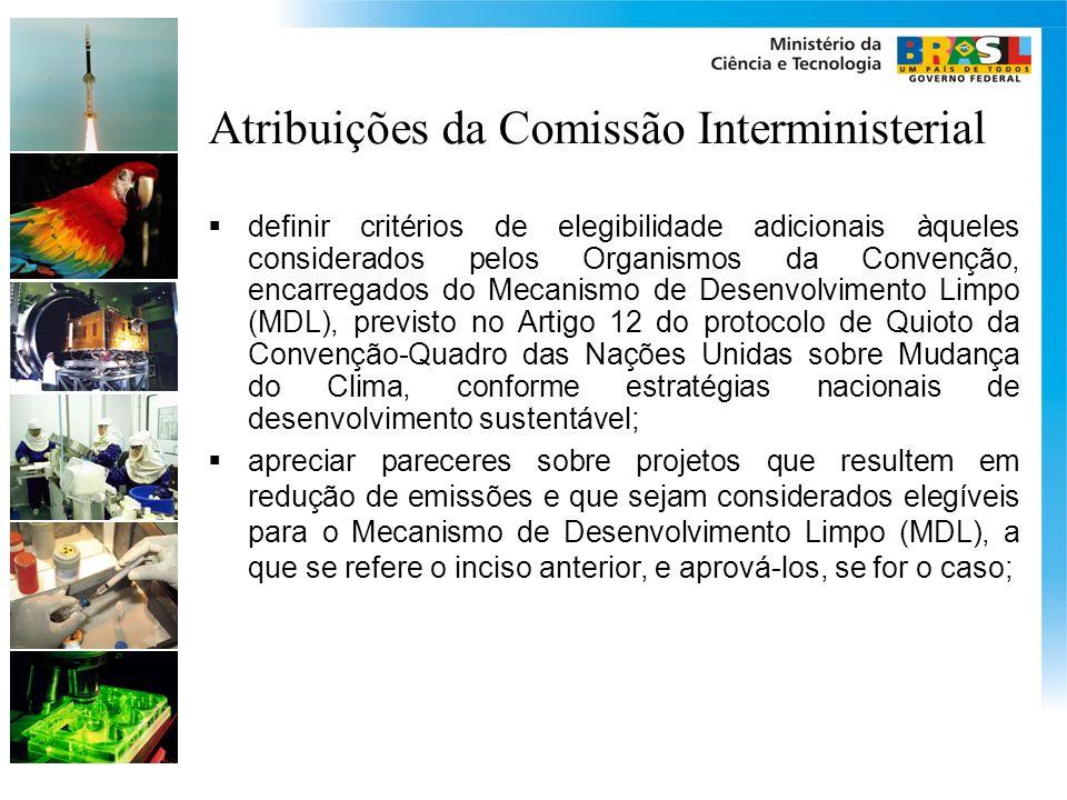 Atribuições da Comissão Interministerial definir critérios de elegibilidade adicionais àqueles considerados pelos Organismos da Convenção, encarregado