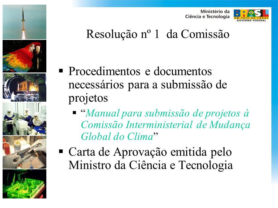Resolução nº 1 da Comissão Procedimentos e documentos necessários para a submissão de projetos Manual para submissão de projetos à Comissão Interminis