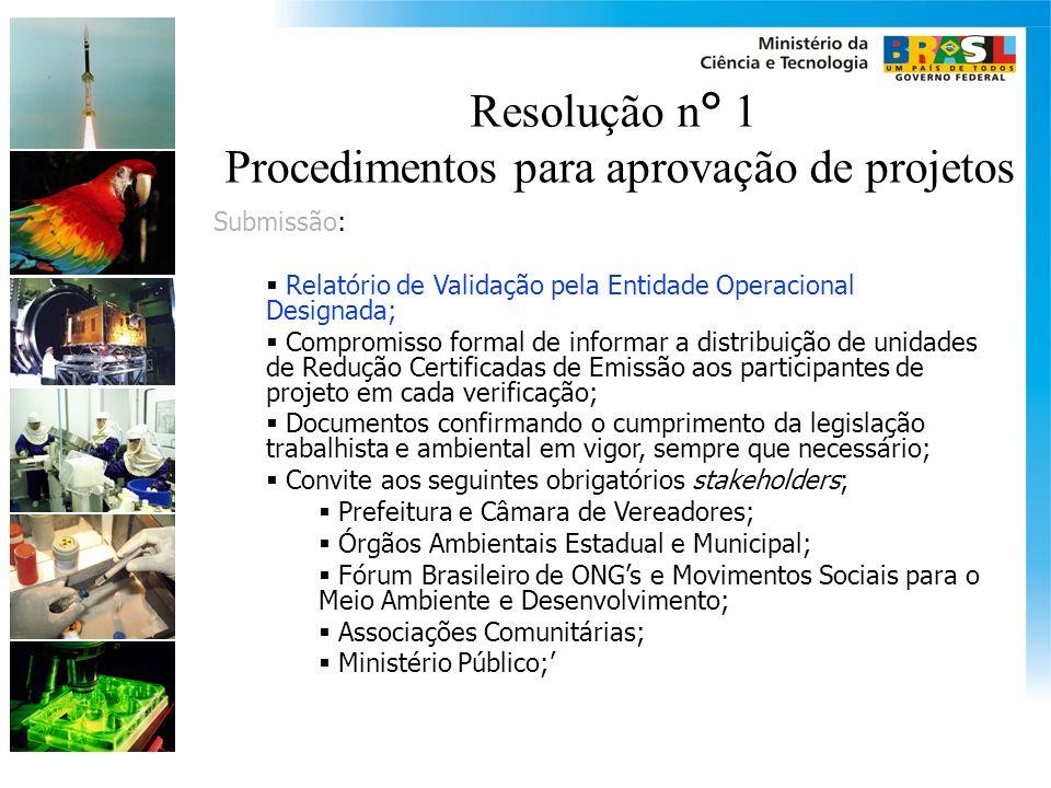 Resolução n° 1 Procedimentos para aprovação de projetos Submissão: Relatório de Validação pela Entidade Operacional Designada; Compromisso formal de i