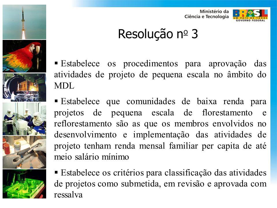 Resolução n o 3 Estabelece os procedimentos para aprovação das atividades de projeto de pequena escala no âmbito do MDL Estabelece que comunidades de
