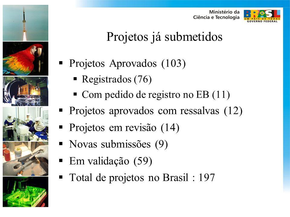 Projetos já submetidos Projetos Aprovados (103) Registrados (76) Com pedido de registro no EB (11) Projetos aprovados com ressalvas (12) Projetos em r