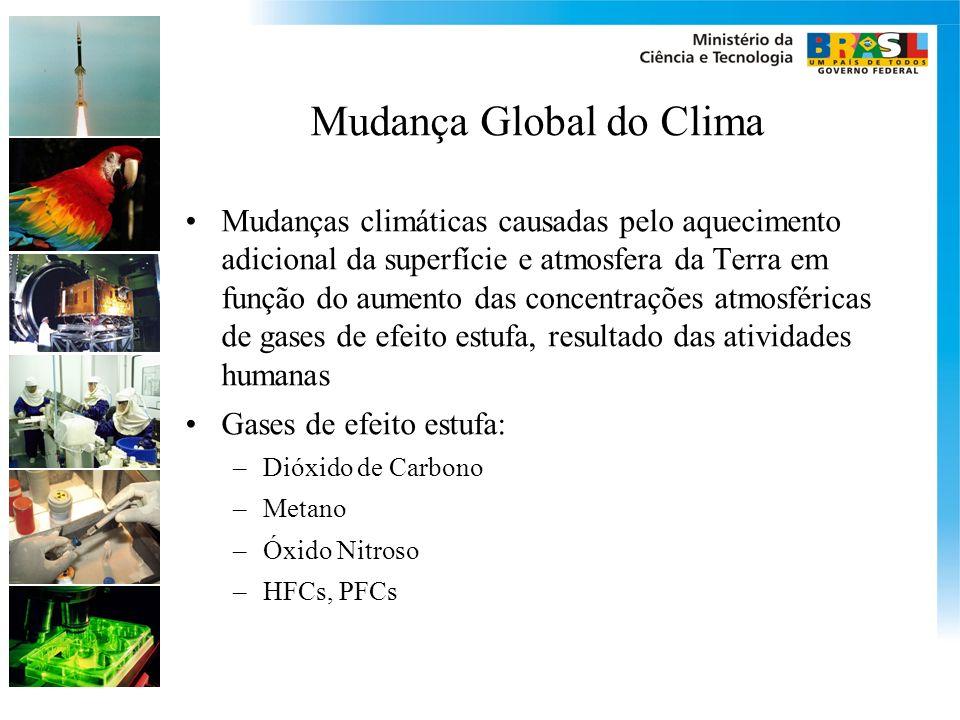 Mudança Global do Clima Mudanças climáticas causadas pelo aquecimento adicional da superfície e atmosfera da Terra em função do aumento das concentraç