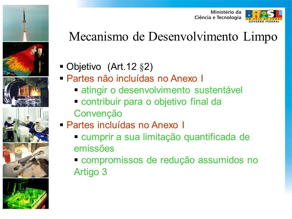 Mecanismo de Desenvolvimento Limpo Objetivo (Art.12 §2) Partes não incluídas no Anexo I atingir o desenvolvimento sustentável contribuir para o objeti
