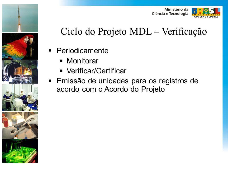 Ciclo do Projeto MDL – Verificação Periodicamente Monitorar Verificar/Certificar Emissão de unidades para os registros de acordo com o Acordo do Proje
