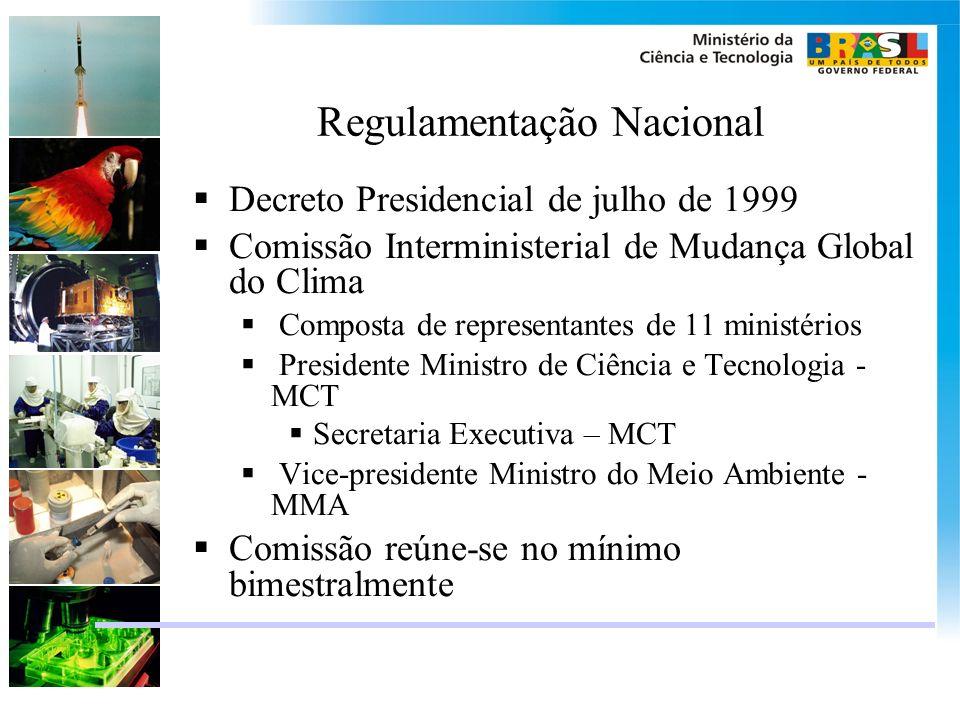 Regulamentação Nacional Decreto Presidencial de julho de 1999 Comissão Interministerial de Mudança Global do Clima Composta de representantes de 11 mi