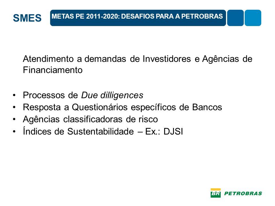 SMES Atendimento a demandas de Investidores e Agências de Financiamento Processos de Due dilligences Resposta a Questionários específicos de Bancos Agências classificadoras de risco Índices de Sustentabilidade – Ex.: DJSI METAS PE 2011-2020: DESAFIOS PARA A PETROBRAS