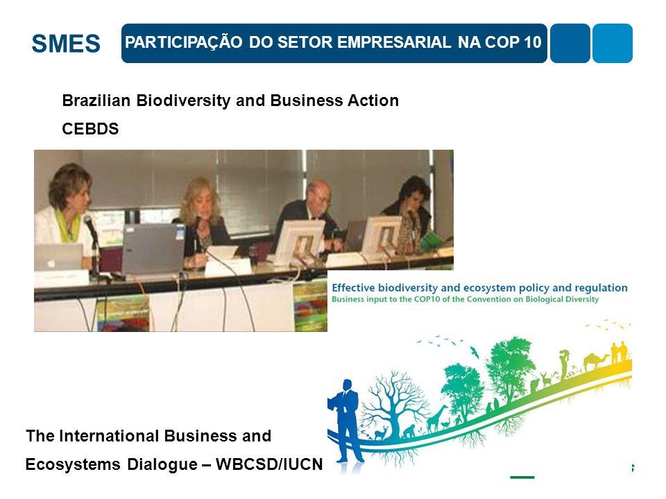SMES Brazilian Biodiversity and Business Action CEBDS PARTICIPAÇÃO DO SETOR EMPRESARIAL NA COP 10 The International Business and Ecosystems Dialogue –