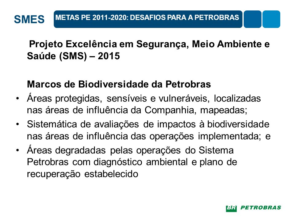 SMES 20 metas do PE 2011-2020 envolvem todos os setores da sociedade e são agrupadas em 5 objetivos estratégicos: A) Tratar das causas subjacentes da perda da biodiversidade por meio da transversalização da biodiversidade no governo e na sociedadeA) Tratar das causas subjacentes da perda da biodiversidade por meio da transversalização da biodiversidade no governo e na sociedade B) Reduzir as pressões diretas sobre a biodiversidade e promover seu uso sustentávelB) Reduzir as pressões diretas sobre a biodiversidade e promover seu uso sustentável C) Melhorar o estado da biodiversidade com a salvaguarda dos ecossistemas, das espécies e da diversidade genética D) Ampliar os benefícios para todos da biodiversidade e dos serviços ecossistêmicosD) Ampliar os benefícios para todos da biodiversidade e dos serviços ecossistêmicos E) Melhorar a implementação por meio de planejamento participativo, gestão do conhecimento e capacitação METAS PE 2011-2020: DESAFIOS PARA A PETROBRAS