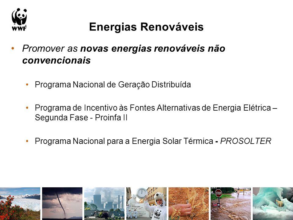 Energias Renováveis Promover as novas energias renováveis não convencionais Programa Nacional de Geração Distribuída Programa de Incentivo às Fontes A