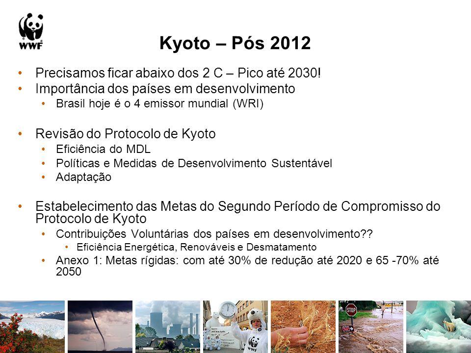 Kyoto – Pós 2012 Precisamos ficar abaixo dos 2 C – Pico até 2030! Importância dos países em desenvolvimento Brasil hoje é o 4 emissor mundial (WRI) Re