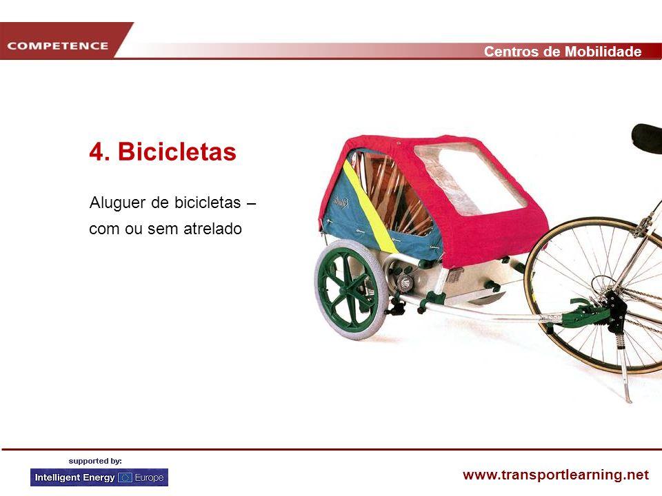 Centros de Mobilidade www.transportlearning.net 4. Bicicletas Aluguer de bicicletas – com ou sem atrelado