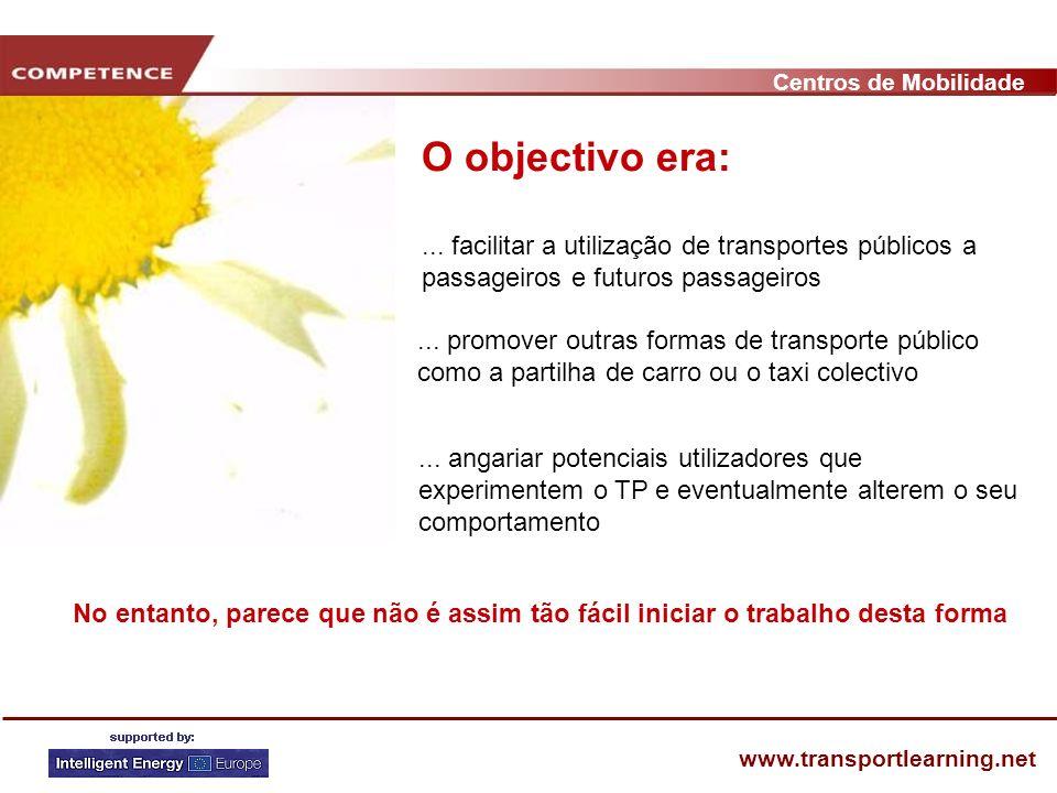 Centros de Mobilidade www.transportlearning.net... facilitar a utilização de transportes públicos a passageiros e futuros passageiros O objectivo era: