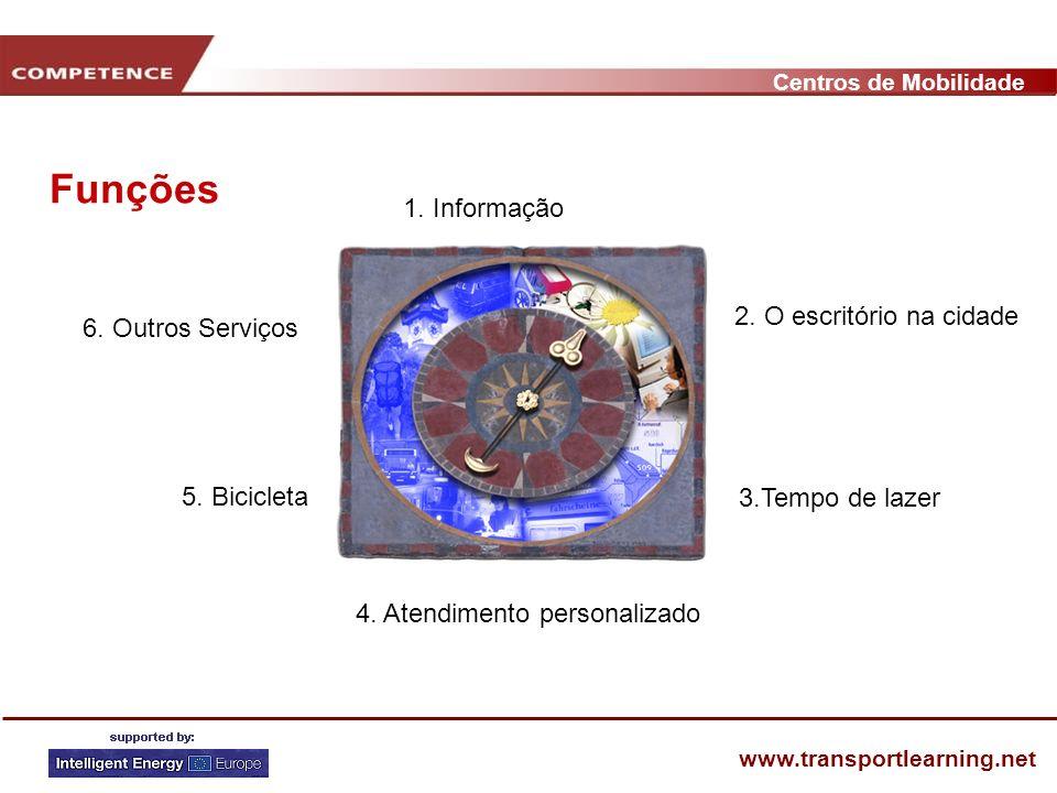 Centros de Mobilidade www.transportlearning.net 1. Informação 4. Atendimento personalizado 5. Bicicleta 6. Outros Serviços Funções 2. O escritório na