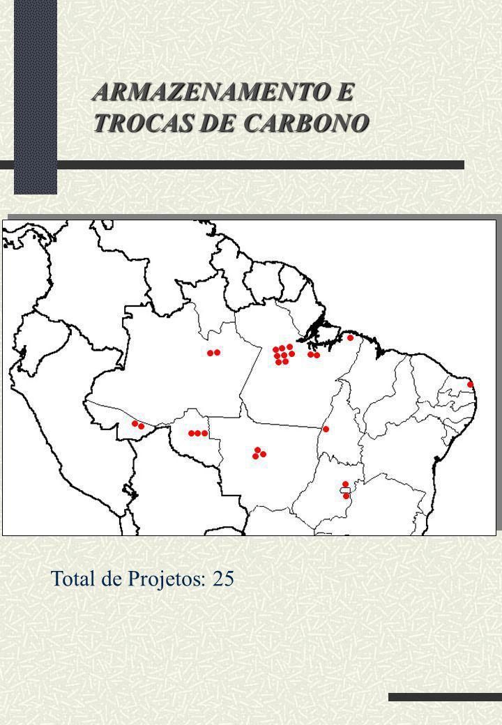 ARMAZENAMENTO E TROCAS DE CARBONO Total de Projetos: 25